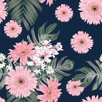 Fondo d'annata del modello senza cuciture con la gerbera floreale e i fiori dell'orchidea di disegno a mano