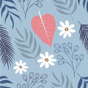 Modello senza cuciture di foglie e fiori tropicali floreali vintage