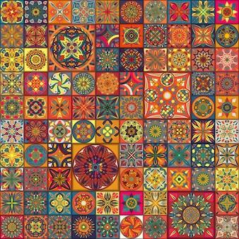 Modello senza soluzione di continuità elementi decorativi di piastrelle patchwork d'epoca.