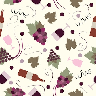 Modello senza cuciture vintage - set vettoriale di vino e vinificazione