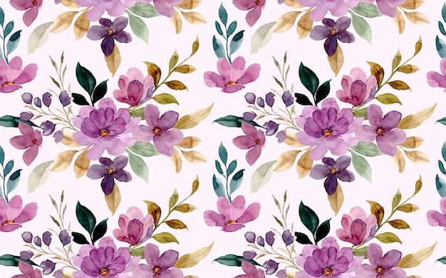 Modello senza cuciture dell'acquerello del fiore viola