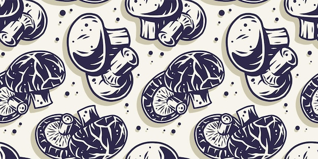Carta da parati senza cuciture con champignon vegetariano raccolta di funghi autunnali per il design della natura