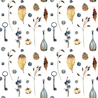 Modello senza cuciture di elementi floreali autunnali dell'acquerello, bacche, zucche, bottiglie decorative vintage e chiavi
