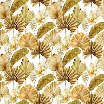 Modello senza cuciture di foglie di palma a ventaglio essiccate beige e dorate ad acquerello ed erba di pampa