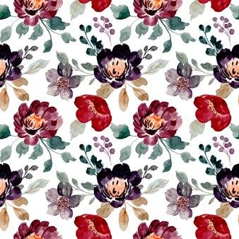 Modello senza cuciture dei fiori dell'acquerello bordeaux