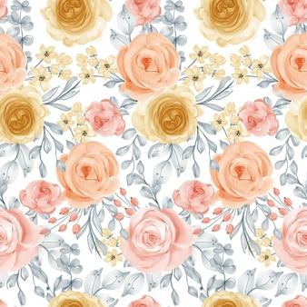 Modello senza cuciture fiore acquerello fiore e foglie modello senza cuciture