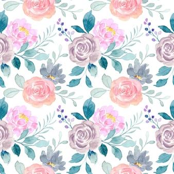 Modello senza cuciture del fiore di rosa dell'acquerello