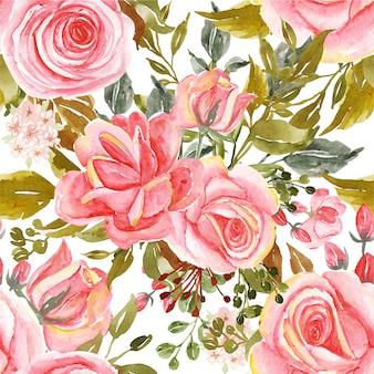 Seamless pattern di rose ad acquerelli