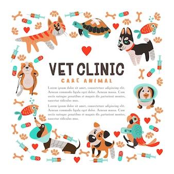 Modello senza cuciture su sfondo bianco per cliniche veterinarie e rifugi per animali