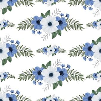 Modello senza cuciture di bouquet di fiori bianchi e blu per il design del tessuto e dello sfondo