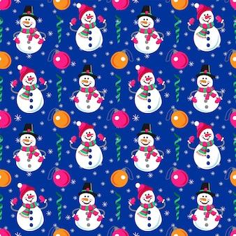 Modello senza cuciture delle vacanze invernali pupazzo di neve allegro pupazzo di neve e palle di natale saluti invernali