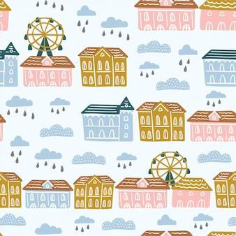 Modello senza cuciture con vita di città astratta, case, nuvole.