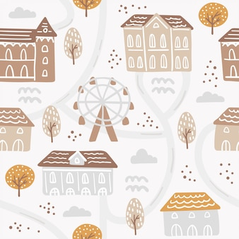 Modello senza cuciture con vita di città astratta, case ed elementi floreali.