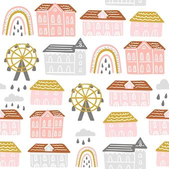 Modello senza cuciture con vita di città astratta, case, arcobaleno, nuvole.