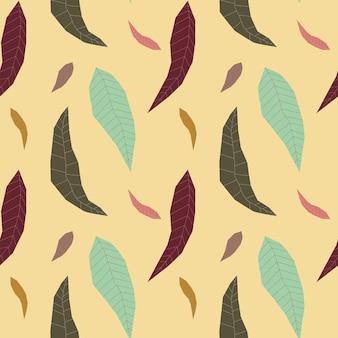Modello senza cuciture con foglie geometriche autunnali astratte su sfondo giallo trama boho infinita