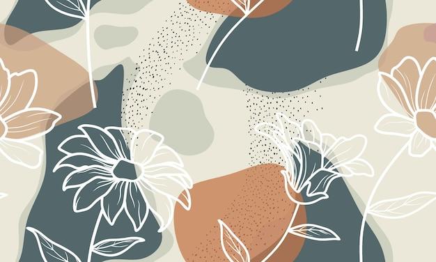 Modello senza cuciture con fiori astratti e congedo