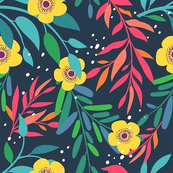 Modello senza cuciture con foglie e fiori astratti