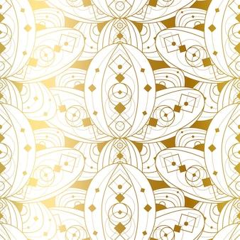 Modello senza cuciture con ornamento dorato astratto. stampa geometrica di doratura su sfondo bianco. modello illustrazione vettoriale di bella decorazione di lusso in stile vintage