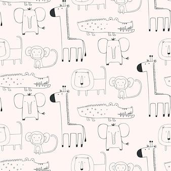 Modello senza cuciture con animali africani in stile scandinavo illustrazione vettoriale disegnato a mano giraffe