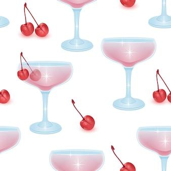 Modello senza cuciture con cocktail alcolici e ciliegia