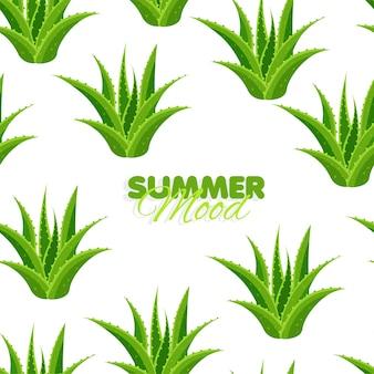 Modello senza cuciture con foglie di aloe summer mood