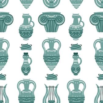 Modello senza cuciture con anfore di vasi greci antichi e colonne antiche