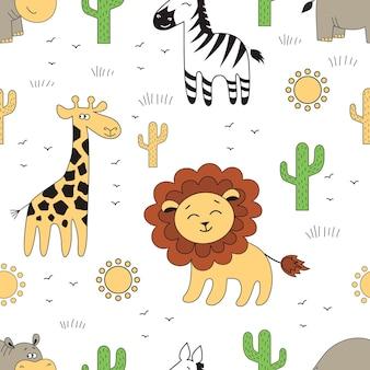 Modello senza cuciture con animali dell'africa. giraffa, ippopotamo, leone, zebra e altri elementi vettoriali