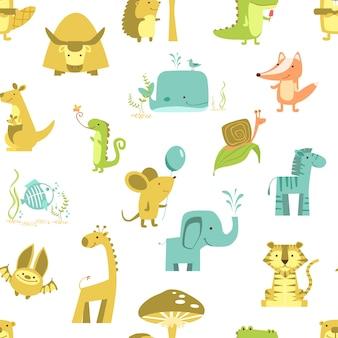 Modello senza cuciture con gli animali vettore di simpatici animali. set di illustrazioni dello zoo