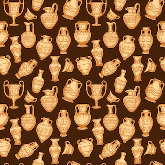 Modello senza cuciture con schizzo di vasi antichi