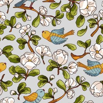 Modello senza saldatura con fiori di melo e uccelli. trama disegnata a mano bella.