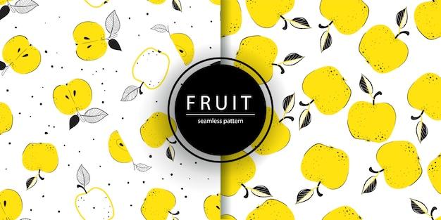 Modello senza cuciture con le mele in stile doodle, carta da parati di frutta.