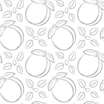 Modello senza cuciture con albicocche, pesche e foglie. elementi lineari disegnati a mano in bianco e nero