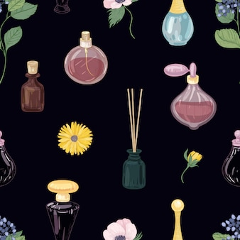 Modello senza cuciture con profumi aromatici in bottiglie decorative di vetro ed eleganti fiori che sbocciano