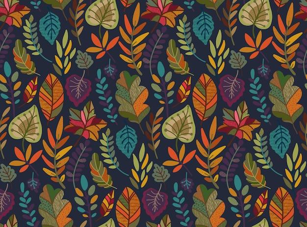 Seamless con elementi autunnali cadono rami di belle foglie luminose