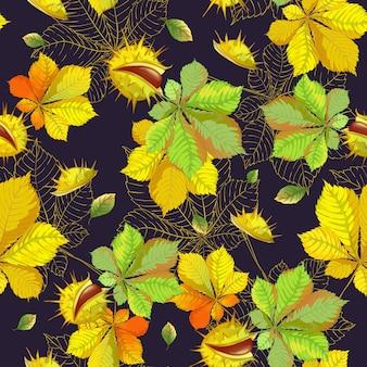 Modello senza cuciture con foglie di autunno e castagne su uno sfondo scuro.