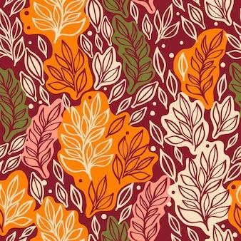 Modello senza cuciture con foglie autunnali sfondo autunnale