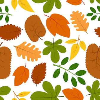Modello senza cuciture con foglie d'autunno. illustrazione vettoriale.