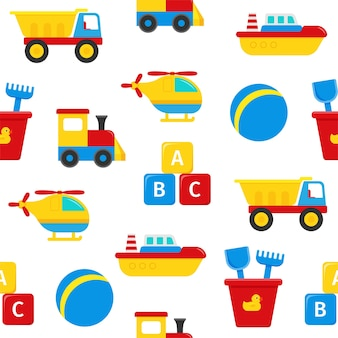 Modello senza cuciture con giocattoli per bambini. sfondo carino con camion, barca, cubi.