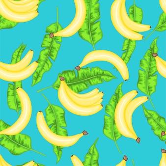 Modello senza cuciture con banane e foglie di banana. collezione di cartoni animati estivi nel vettore.