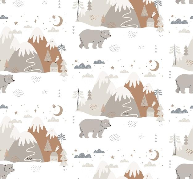 Modello senza cuciture con orso, montagne, alberi, nuvole, neve e casa. stile scandinavo