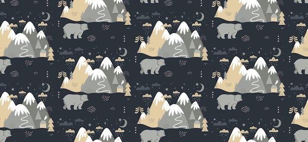 Modello senza cuciture con orso, montagne, alberi, nuvole, neve e casa.