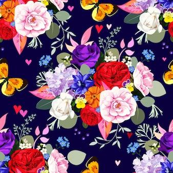 Modello senza cuciture con bellissimi mazzi di fiori e farfalle