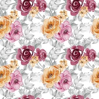 Modello senza cuciture con bellissimi fiori e foglie
