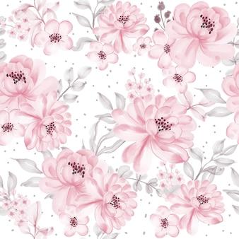 Modello senza cuciture con bellissimi fiori rosa e foglie