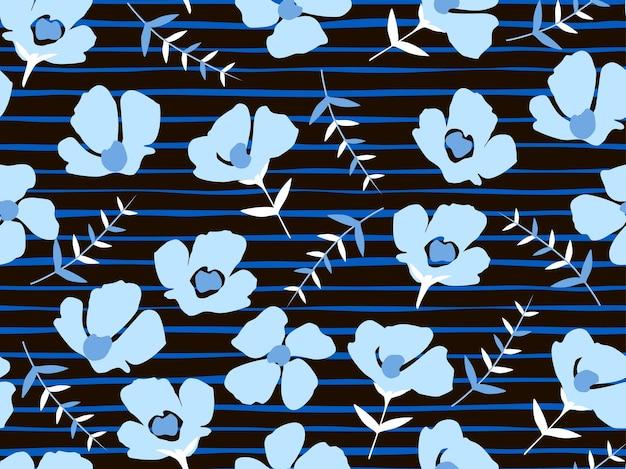 Modello senza cuciture con bellissimi piccoli fiori blu su sfondo nero