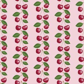 Modello senza cuciture con ciliegie e foglie di bellezza