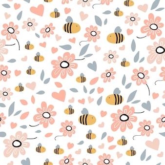 Modello senza cuciture con ape, fiori, foglie ed elementi disegnati a mano