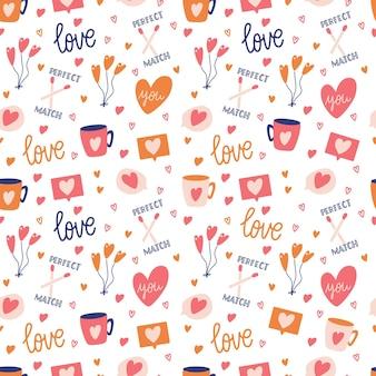 Modello senza cuciture con grande collezione di oggetti d'amore e simboli per happy valentines day. illustrazione piatta colorata.