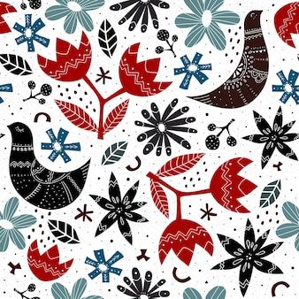 Modello senza cuciture con fiori di uccelli e ramoscelli in stile scandinavo
