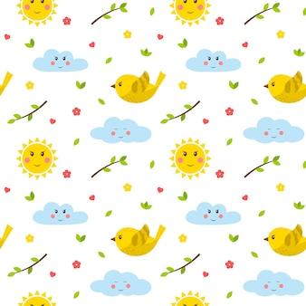 Modello senza cuciture con uccelli, ramoscelli, sole e nuvole. elementi piatti simpatico cartone animato.